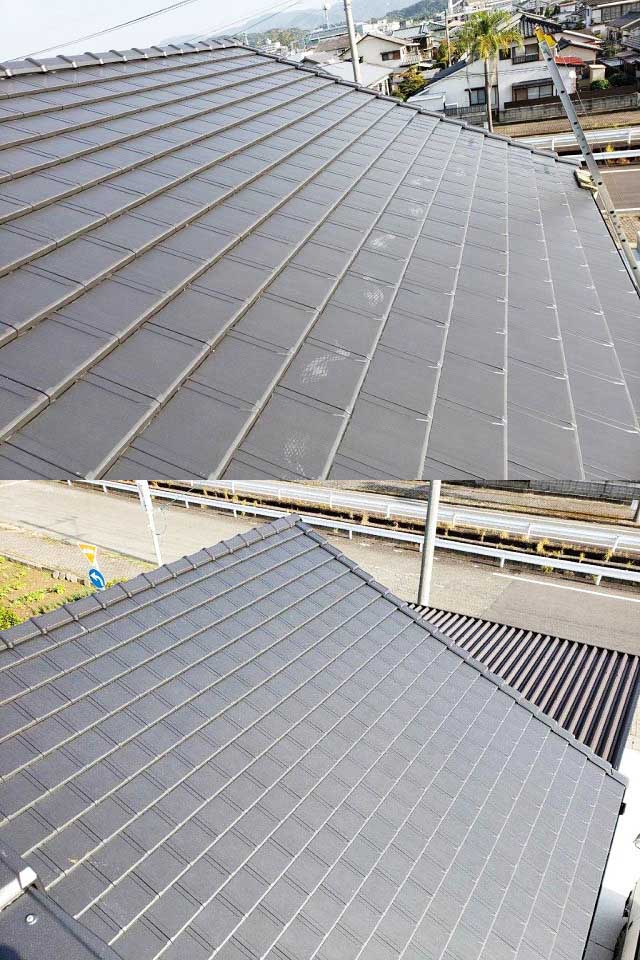 日南市 長州産業の太陽光 Y様邸 施工前の屋根 平板瓦