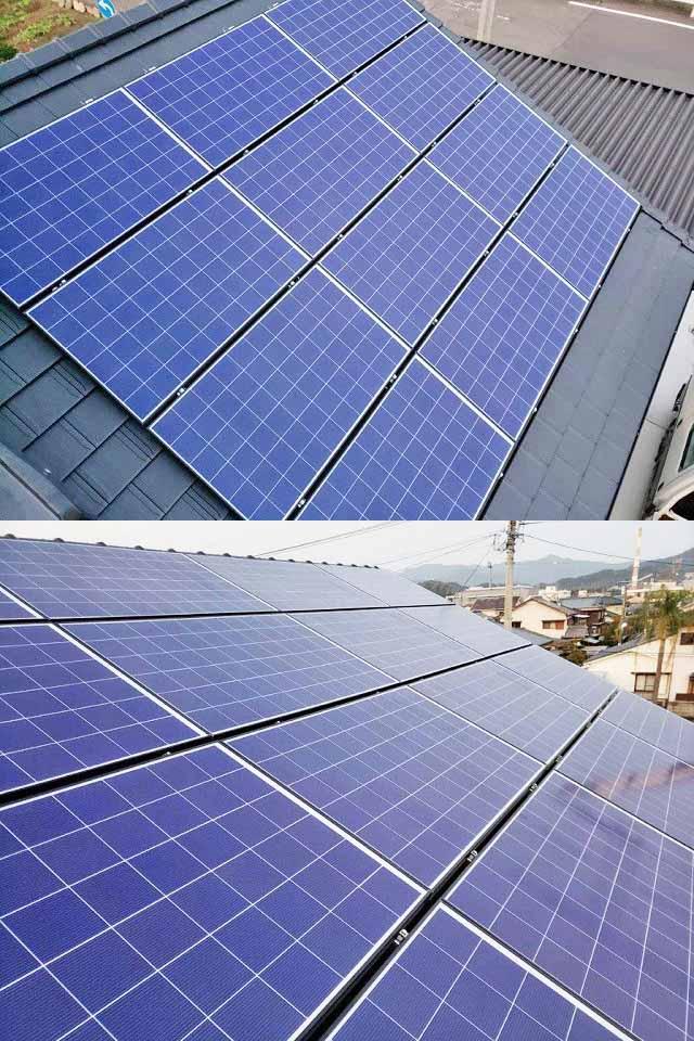 日南市 長州産業の太陽光 Y様邸 モジュール設置