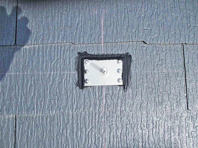 春日市 中尾様邸 太陽電池モジュール用 アンカー金具のコーキング