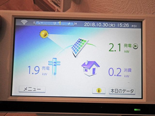 朝倉郡 手島様邸 太陽光発電のカラーモニター