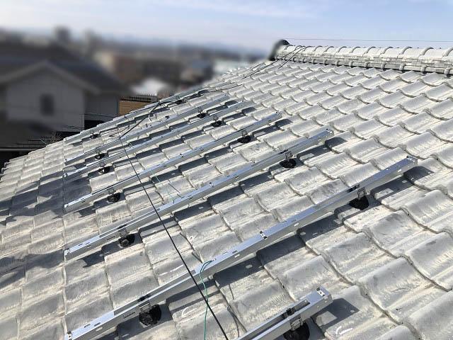 宮崎市 山下様邸 太陽電池モジュール設置中 架台フレーム