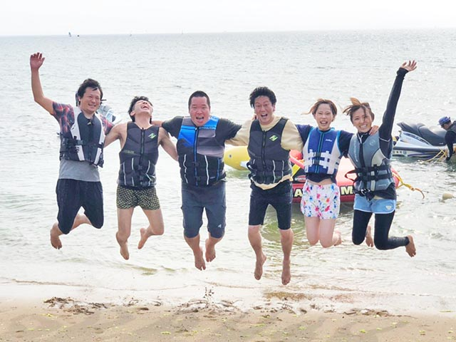 新日本エネックスBBQでバナナボート挑戦!