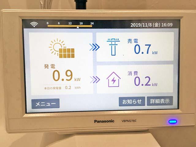 瑞穂市のF様邸にてパナソニックの太陽光発電システム工事しました。太陽光モニタです。