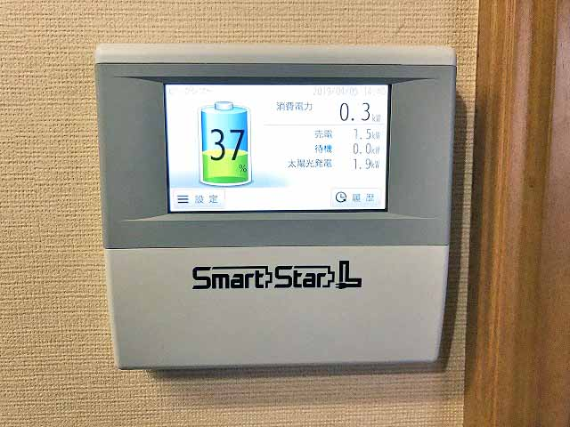 古賀市のN様邸にてスマートスターL蓄電システムを設置工事しました。エネルギーモニター設置写真です。