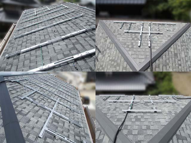福岡県久留米市のT様邸にて長州産業の太陽光発電システムの設置工事をしました。架台の取り付けです。