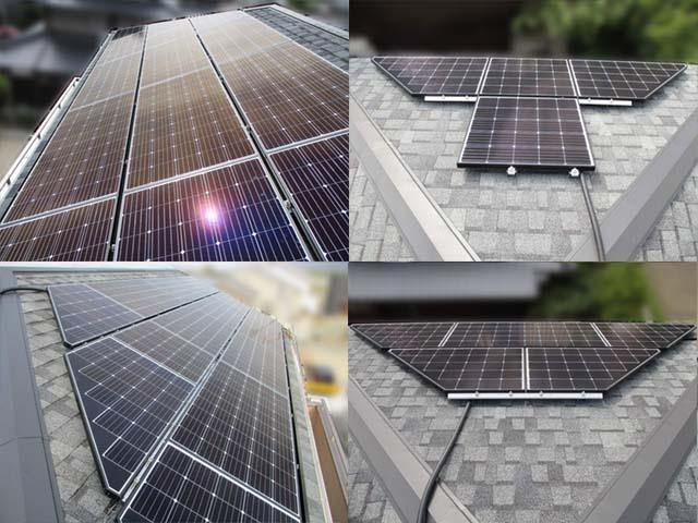 福岡県久留米市のT様邸にて長州産業の太陽光発電システムの設置工事をしました。太陽光モジュール設置完了です。