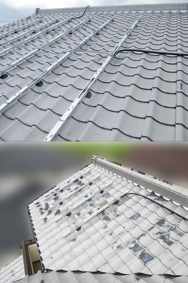 佐賀県唐津市のT様邸にて長州産業の太陽光発電システム設置工事しました。モジュール架台設置です。