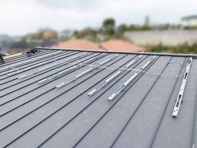 福岡県糟屋郡のE様邸にて、太陽光発電システムを設置しました≪架台≫