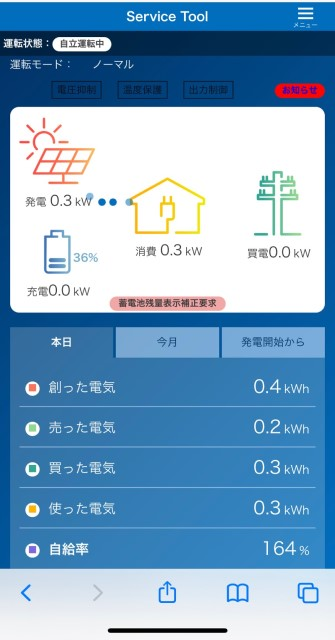 岡山県岡山市のT様邸にて、蓄電システムを設置しました≪システムモニタ≫